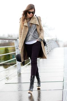 chunky lace-up boots, cable knit sweater, camel coat.