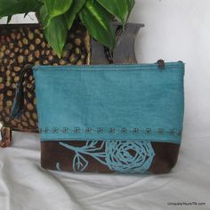 Cosmetic Bag: chocolate brown and turquoise from Uniquely Yours TN for $18.00 on Square Market