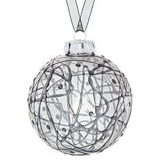 Buy John Lewis Smoked Scribble Glass Bauble, Grey Online at johnlewis.com