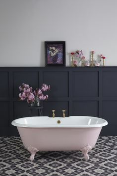 Bath Limited Edition Petite Millbrook Painted with Mylands Rose Blush 1884 crop The Cast Iron Bath Company www.castironbath.co.uk