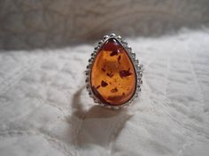 Tear Drop Chunky Amber Silver Ring Size 9 Resin by LandofBridget
