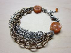 Carnelian Flowers Chain Mail and Vintage by ChrissyGemmillJewels, $56.00