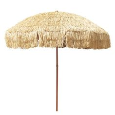 """8' Hula Umbrella 16 Fiberglass Ribs Covered w/ Beige Raffia (Hula), 4.33""""(11cm) Flap, UPF 50+"""