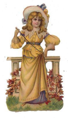 Victorian Die Cut Scrap Girl in Gold Dress