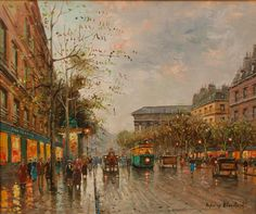 Antoine Blanchard (FRENCH, 1910-1988) oil painting on canvas depicting a street scene with people, carriages, trolleys, buildings and trees.