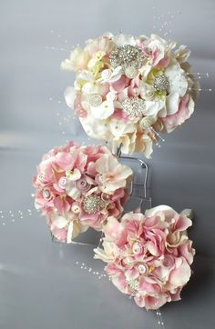 Pink artificial hydrangea wedding bouquets for bride and bridesmaids