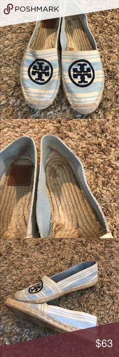 Tory Burch Espadrille Tory Burch espadrilles hard to find color and style in really good condition there is one flaw on the inside of left shoe the Tory Burch tag is missing. These have light wear from use. These are 11 but run small fits like a 10 Tory Burch Shoes Espadrilles