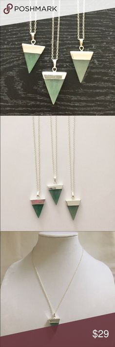 "✅CLEARANCE Sliced Aventurine silver necklaces Natural sliced Aventurine gemstone triangles. Classy look at any event or everyday workplace wear. Silver plated, 18"" chain. 100% NATURAL gemstone may have small irregularities in surface and color because it is not manmade. Jewelry Necklaces"