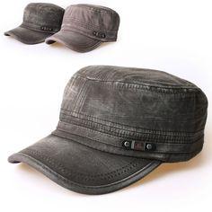 New Mens Cadet Military Hat Cap Trucker Hat Visor Unisex Black Brown  b264462ac0
