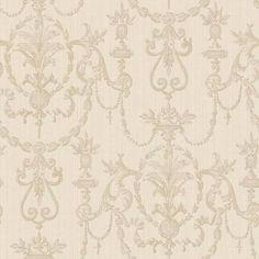 neoclassical beige and cream wallpaper