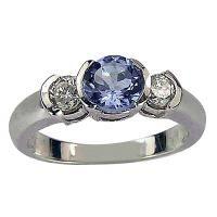 Bezel Set Tanzanite In Three Stone Modern Diamond Ring (8286)