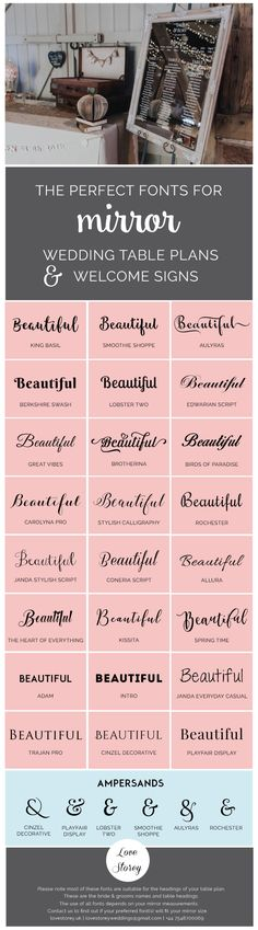 Mirror table plan fonts - Love Storey Weddings