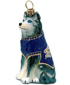 Go team go! Show support for your favorite team with this dog ornament from Joy to the World. Crafted of mouth-blown, hand-painted glass. Perfect for Washington fans!   Mouth-blown, hand-painted glass