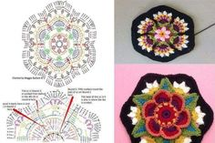 Best 12 Frida Flor Patrón gratuito – Paso a Paso We are want to say thanks if you like to share this post – SkillOfKing. Crochet Mandala Pattern, Crochet Square Patterns, Crochet Motifs, Crochet Blocks, Crochet Squares, Diy Crochet, Crochet Designs, Crochet Doilies, Crochet Flowers