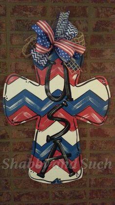 CROSS Wood Patriotic USA Chevron Red White by shabbyandsuchdesigns Hand Painted Crosses, Wooden Crosses, Crosses Decor, Cross Door Hangers, Burlap Door Hangers, Burlap Crafts, Wooden Crafts, Wooden Cutouts, Cross Crafts