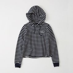 Abercrombie & Fitch Indigo Logo Pullover (690 EGP) ❤ liked on Polyvore featuring tops, sweaters, navy stripe, pullover sweater, navy stripe top, striped top, striped sweater and striped pullover