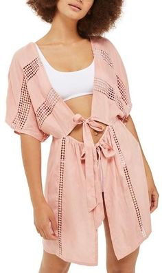 6f49013db2 Topshop Crochet Inset Cover-Up Caftan Cover Up