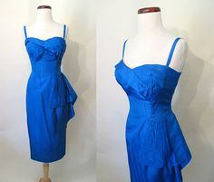 Fabulous 1950's Designer Hourglass Cocktail Dress by wearitagain