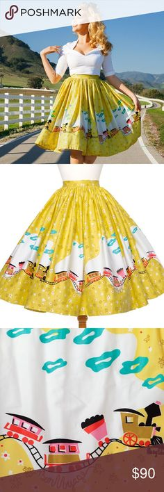Pinup Couture Jenny Skirt in Yellow Train Print. The Magic of Mary Blair Collection is a collaboration between Pinup Girl and the estate of Mary Blair. The Jenny Skirt is made out of high-quality cotton sateen to get the most fullness with the neatest gathers and a wide waistband and back zipper for a nipped in waist. Flattering for almost every body type, the fullness of the Jenny Skirt works to slim bigger hips and make your waist look smaller while also creating instant curves for those…