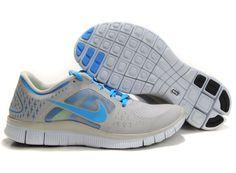 Mens Nike Free Runs 3 Granite Blue Glow Pro Platinum Blue Glow Shoes