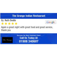 Again a great night with great food and great service,  thank you