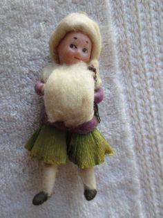 heubach cotton ornament | Antique Heubach Spun Cotton Bisque Ornament Girl | eBay