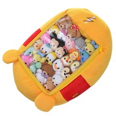 If you are in need of a storage compartment for your Tsum Tsums, check out the New Disney Character Tsum Tsum Storage Stuffed Animals. Even though it looks like a stuffed animal, it also has a clear vinyl window on the back of each Tsum Tsum. You will be able to store many mini Tsum Tsums and check