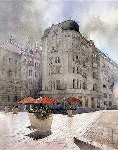 Grzegorz Wróbel - Polish artist - Watercolors-Akwarele
