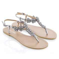 4f761e26cc10d Rhea - Flower embellished sandals - Rows of opal florets with rhinestones -  From  Enchanted  collection - Light blue outsole for your  something blue   ...