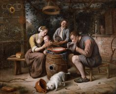 """Jan Steen, Prayer Before the Meal, ca. 1667-71. """"The Jan Steen painting that [John Graver] Johnson sent to New York was not The Rhetoricians, Moses Striking the Rock, or The Doctor's Visit but rather Prayer Before the Meal, also known as Grace Before Meat, which today is ranked far behind those masterpieces in importance. In 1909, however, it would perhaps have been seen as publicly edifying."""" -Lloyd DeWitt"""
