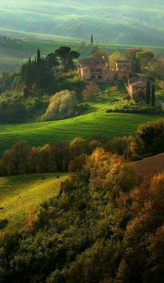 Sunrise over Tuscany. .