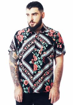 Fieer Mens Tailored Ethnic Style Luxury Oversize Button Down Shirt