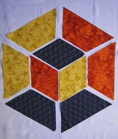 Este tutorial fue hecho especialmente para un amigo . Your blanket – this comes with 3d Quilts, Cute Quilts, Tumbling Blocks Quilt, Quilt Blocks, Quilt Block Patterns, Pattern Blocks, Crumb Quilt, Quilt Modernen, Crazy Patchwork