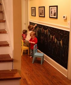 With chalkboard paint. My kids' playroom will have chalkboard paint, for sure! Diy Casa, Half Walls, Toy Rooms, Kids Rooms, Room Kids, Children Playroom, Kid Playroom, Chalkboard Paint, Kids Chalkboard