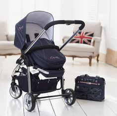 Genuine iCandy Cherry carrycot apron Navy Blue Union Jack Special Edition