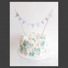 Tiffany inspired rosette cake. By Jenelle's Custom Cakes.