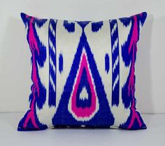 15x15 blue pink ikat pillow cover cushion case blue by SilkWay
