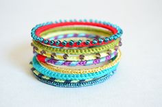 Colorful crocheted beaded bangle set by bibatron on Etsy