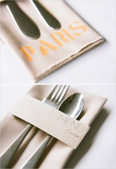 I love having the menu printed and wrapped around the napkins!