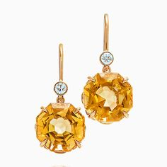 Tiffany Sparklers drop earrings in 18k gold with citrines and diamonds.