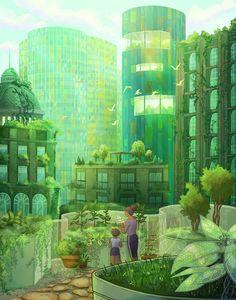 Fantasy Places, Fantasy World, Fantasy Art, Futuristic City, Futuristic Architecture, Ville Durable, Solar, Eco City, City Drawing