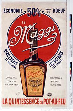 """"""" Maggi, Maggi et vos idées ont du génie """" / On en mettait partout et on le… Retro Advertising, Retro Ads, Vintage Advertisements, Retro Vintage, Vintage Labels, Retro Housewife, Old Commercials, Vintage Graphic Design, Poster"""