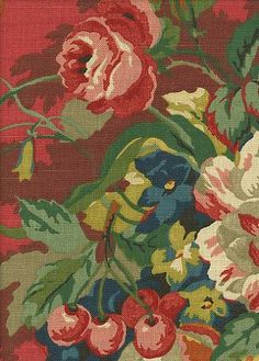 Queensland Crimson French Country Fabric; I have this fabric all over my house and a bolt of it left over...=)