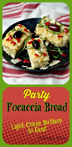 Party Focaccia Bread is so easy and tastes incredible! It is light, airy, crunchy, and buttery with herbs and flavorful toppings. Great for sandwiches too!