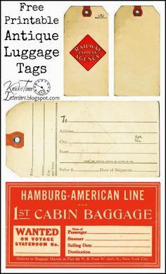 Free Printable Antique Luggage Shipping Tags via http://knickoftimeinteriors.blogspot.com/