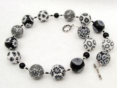 necklace, polymer clay, fimo, Mein Liebling handgefertigte Kette aus schwarz von polymerdesign
