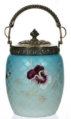 "8"" BLUE SATIN MOTHER OF PEARL ART GLASS DIAMOND QUILTED BISCUIT JAR  : Lot 288"