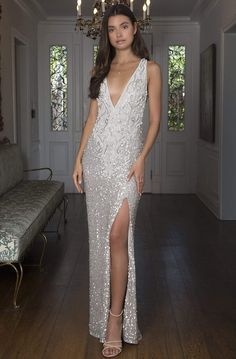 Long Silver Dress, Sheer Dress, White Dress, Pageant Dresses, Formal Dresses, Column Dress, Couture Dresses, Plunging Neckline, Fitted Bodice