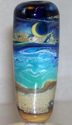 WSTGA~DEEP BLUE SEA~BEACH MOON OCEAN handmade lampwork focal glass bead SRA