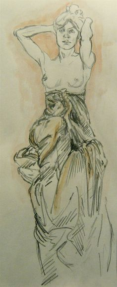 Alphonse Mucha - Drawing for a work, Research for designs for Robert David MacDonald's 'A Waste Of Time'
